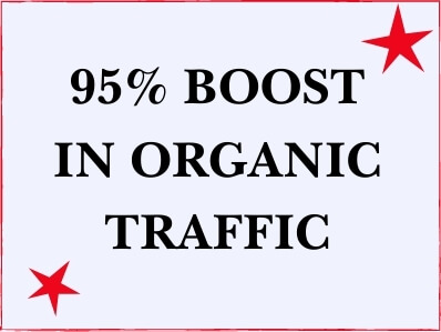 purple box with read stars and the words 95% boost in organic traffic