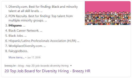 Google search answer box result for job boards for diversity hiring showing Breezy's article as number one result