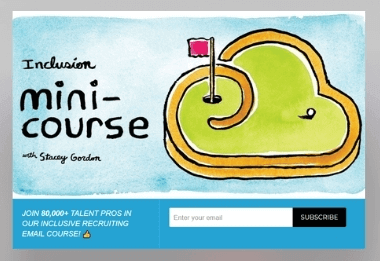Pop up CTA illustration showing a mini golf course with the words inclusion mini course