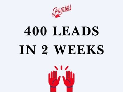 purple box with red hands in praise and the words 400 leads in 2 weeks