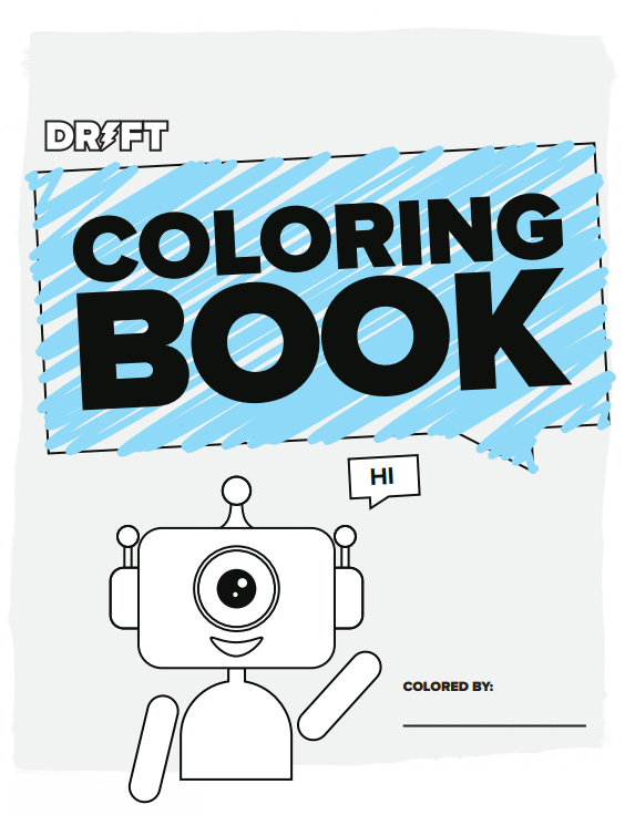 a coloring sheet with a robot waving