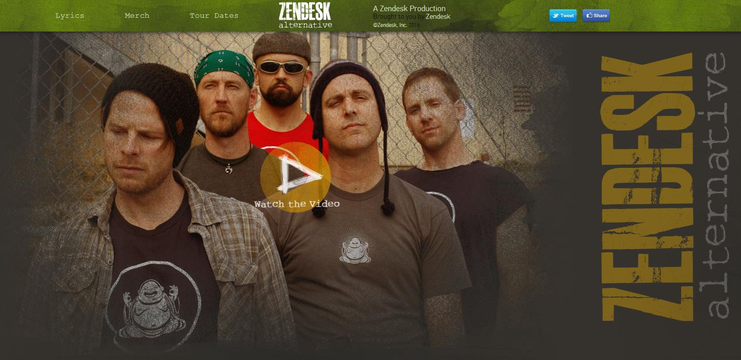 Home page of an alternative band with five men in grunge clothing