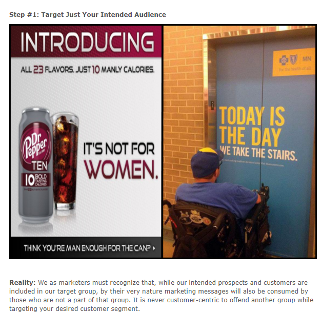 Image of a Dr. Pepper ad stating 'It's not for women' and another of a man in a wheelchair outside an elevator that has an ad on the front saying 'Today is the day we take the stairs'