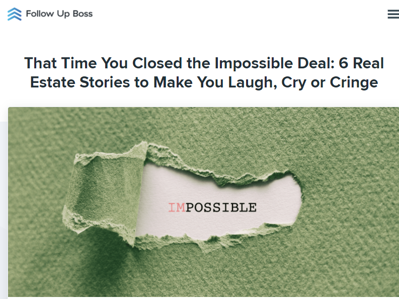 Screenshot of a blog headline about 'That Time You Closed the Impossible Deal'