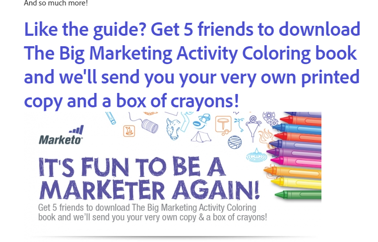 Optin box offering readers a free coloring book and box of crayons if they get 5 friends to download